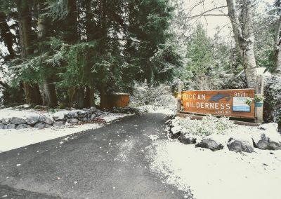 Snow covered ground at Ocean Wilderness Inn
