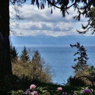 View of Juan de Fuca Strait from Ocean Wilderness garden